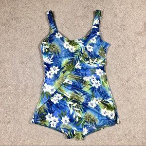 Vintage Swim - Retro 60's Hawaiian Floral Rockabilly Pin-up Suit